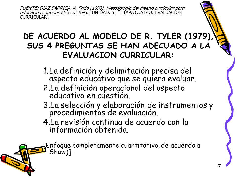 La definición operacional del aspecto educativo en cuestión.