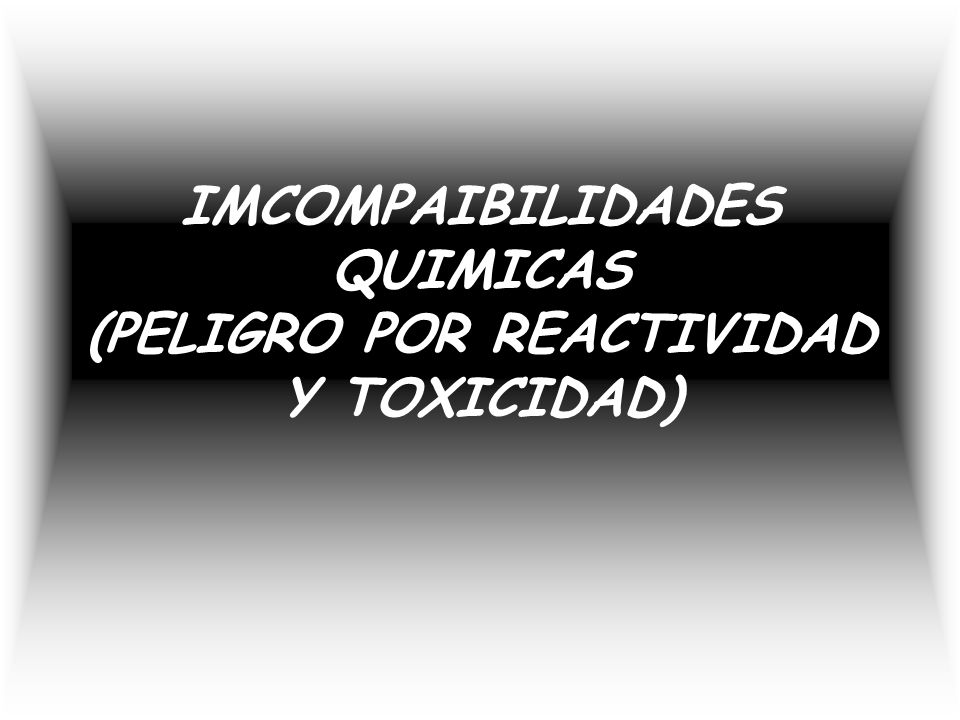 IMCOMPAIBILIDADES QUIMICAS (PELIGRO POR REACTIVIDAD Y TOXICIDAD)