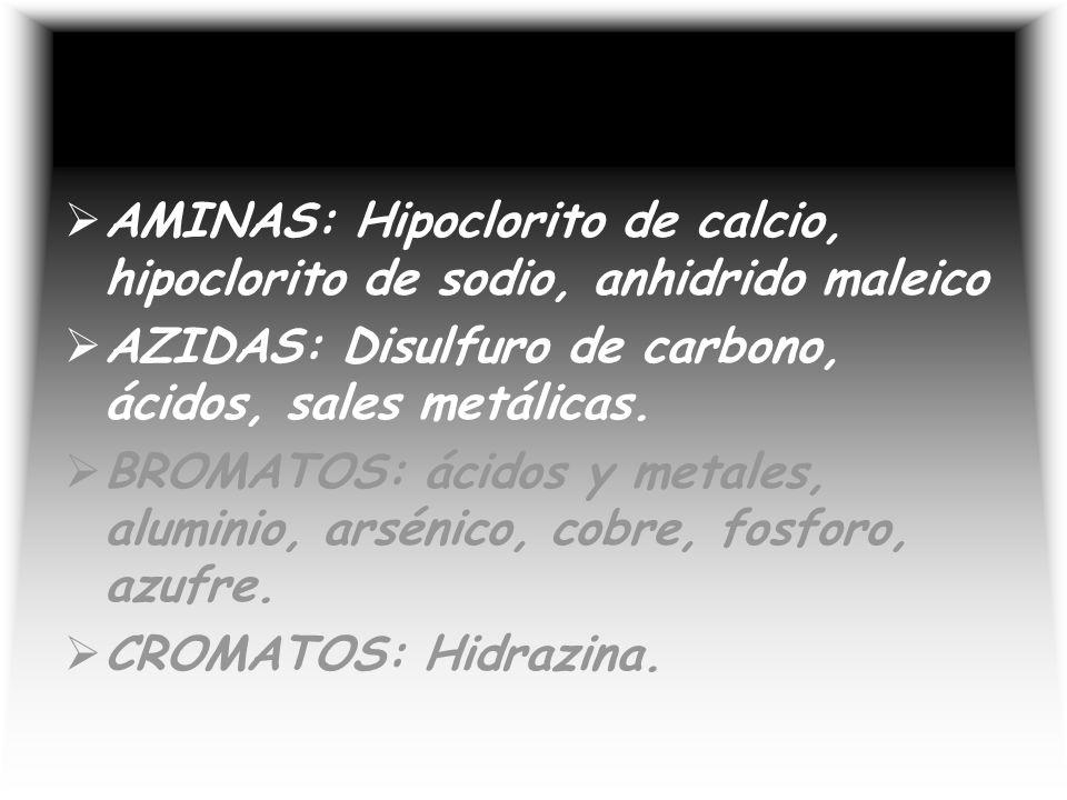 AMINAS: Hipoclorito de calcio, hipoclorito de sodio, anhidrido maleico