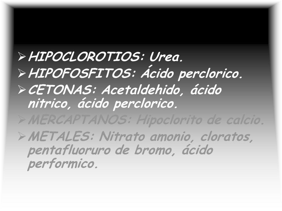 HIPOCLOROTIOS: Urea. HIPOFOSFITOS: Ácido perclorico. CETONAS: Acetaldehido, ácido nitrico, ácido perclorico.