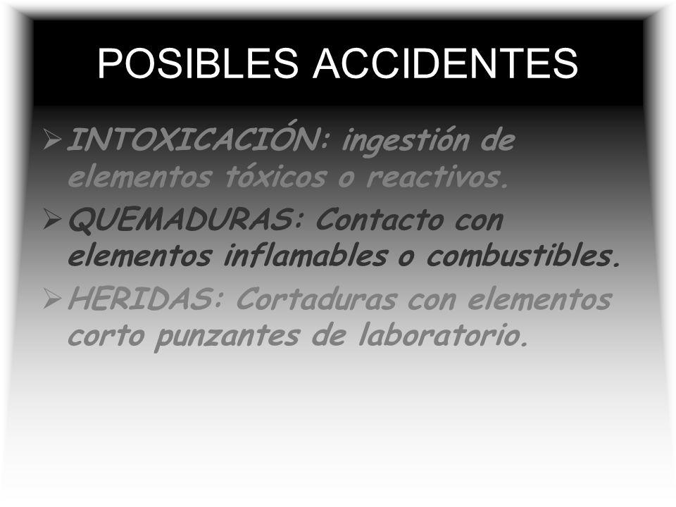 POSIBLES ACCIDENTES INTOXICACIÓN: ingestión de elementos tóxicos o reactivos. QUEMADURAS: Contacto con elementos inflamables o combustibles.