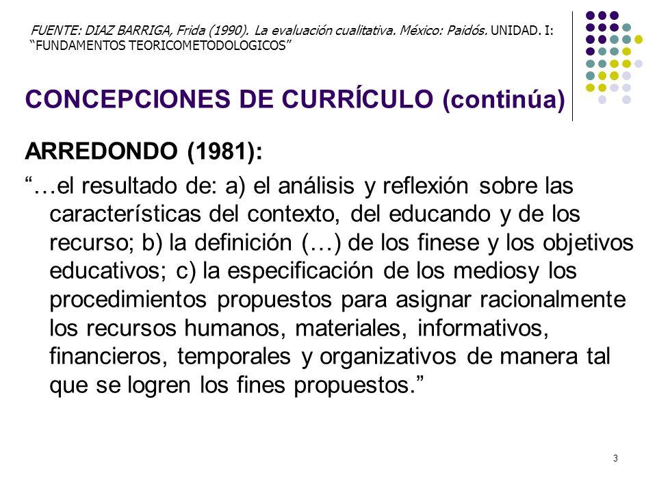 CONCEPCIONES DE CURRÍCULO (continúa)