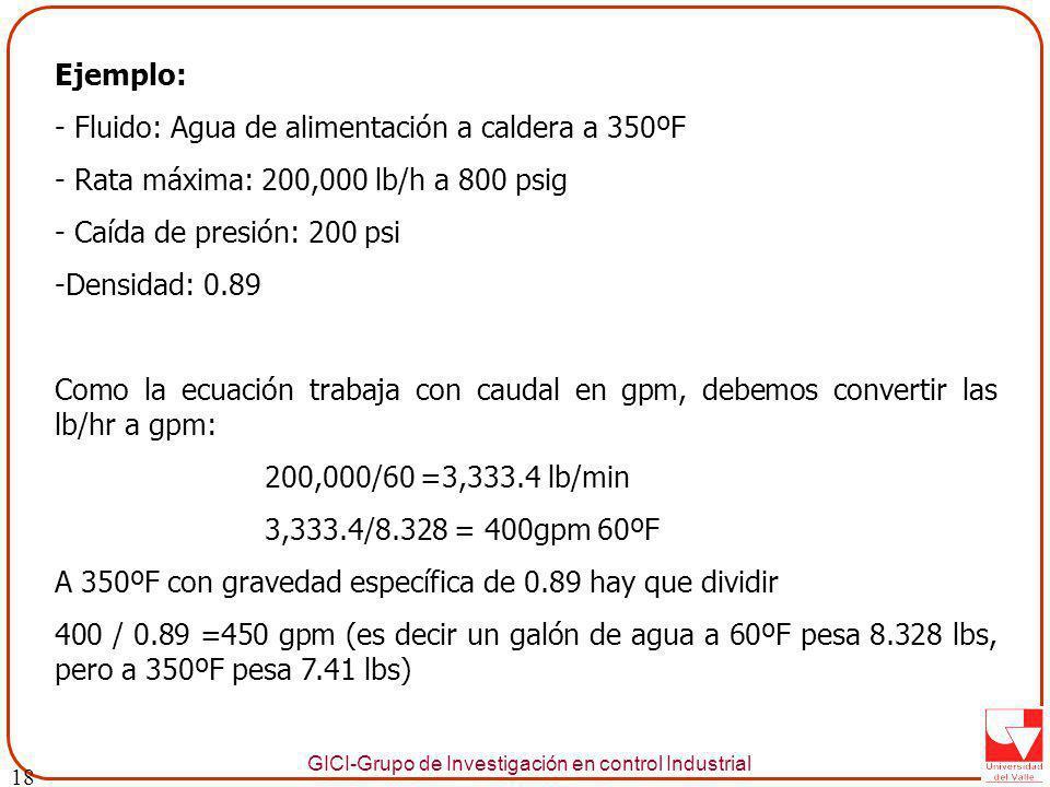 - Fluido: Agua de alimentación a caldera a 350ºF