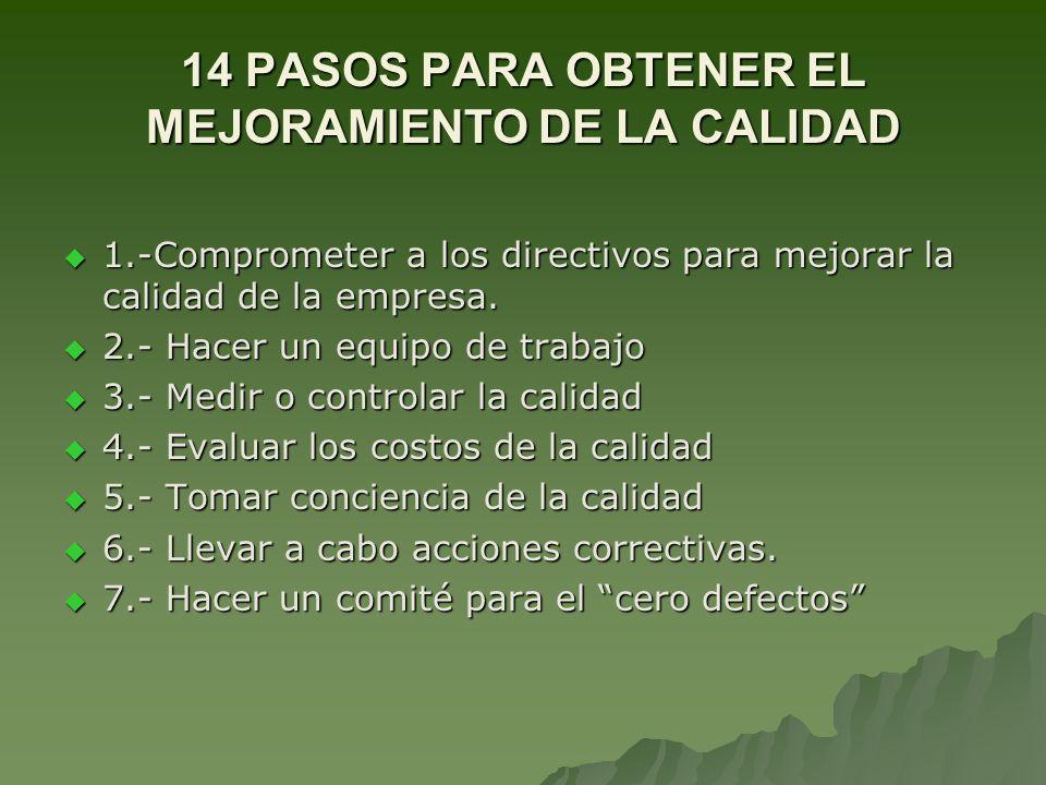 14 PASOS PARA OBTENER EL MEJORAMIENTO DE LA CALIDAD