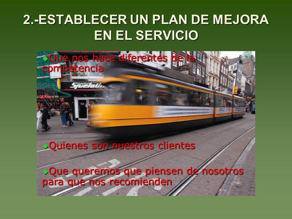 2.-ESTABLECER UN PLAN DE MEJORA EN EL SERVICIO