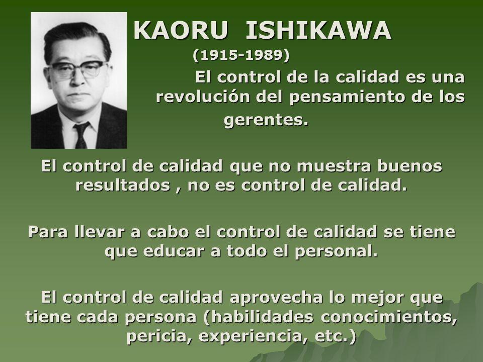 KAORU ISHIKAWA (1915-1989) El control de la calidad es una revolución del pensamiento de los. gerentes.