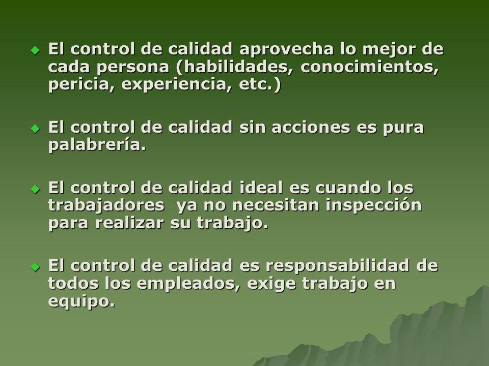 El control de calidad aprovecha lo mejor de cada persona (habilidades, conocimientos, pericia, experiencia, etc.)