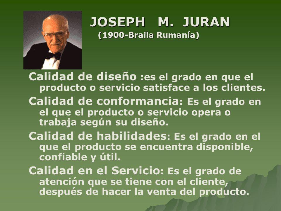 JOSEPH M. JURAN (1900-Braila Rumanía) Calidad de diseño :es el grado en que el producto o servicio satisface a los clientes.