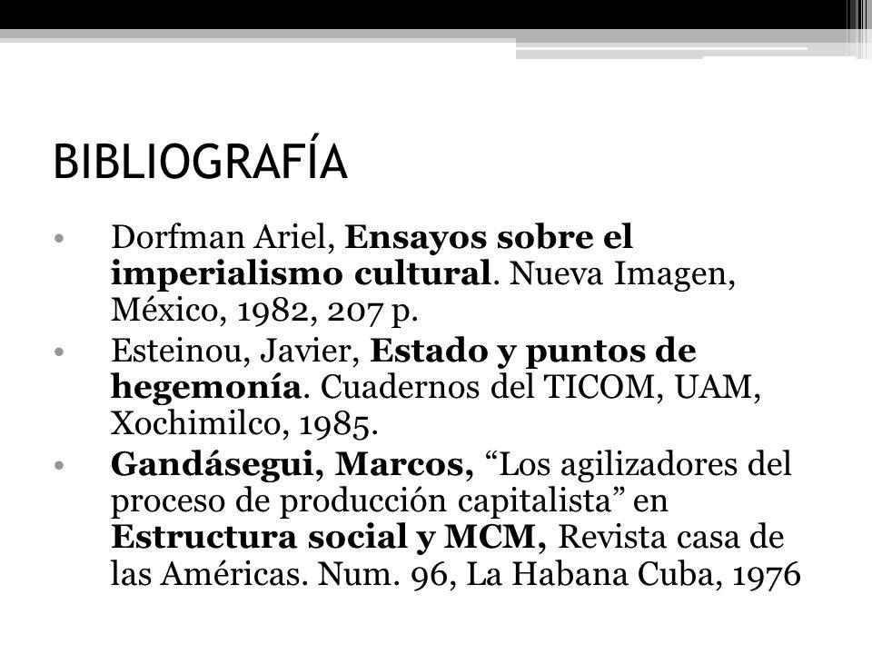 BIBLIOGRAFÍA Dorfman Ariel, Ensayos sobre el imperialismo cultural. Nueva Imagen, México, 1982, 207 p.