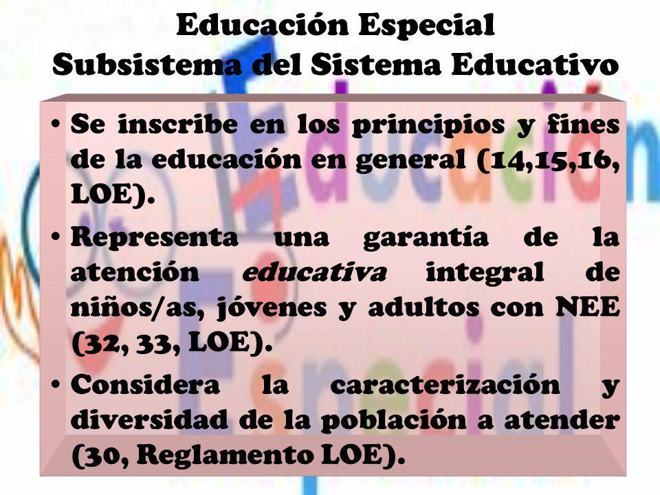 Educación Especial Subsistema del Sistema Educativo