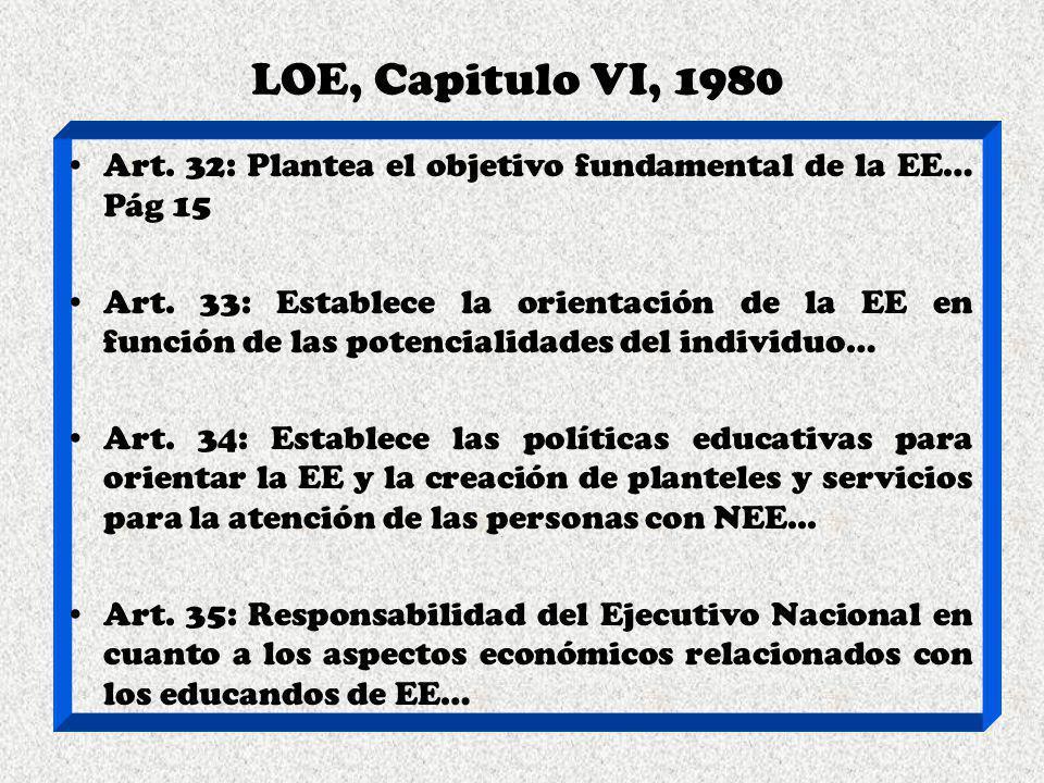 LOE, Capitulo VI, 1980 Art. 32: Plantea el objetivo fundamental de la EE… Pág 15.