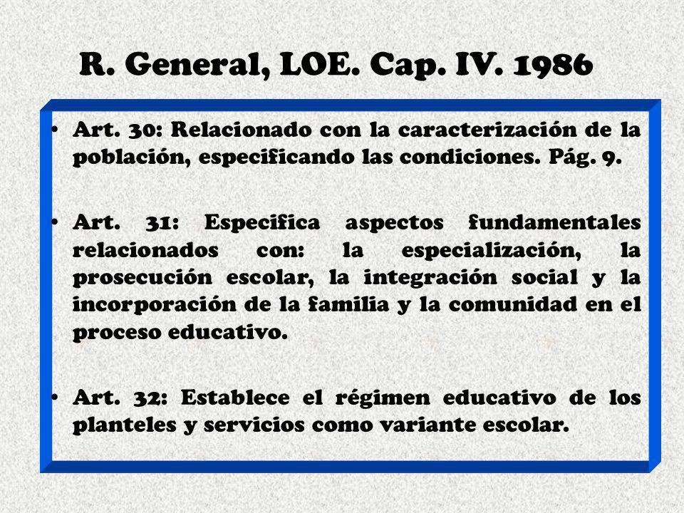 R. General, LOE. Cap. IV. 1986 Art. 30: Relacionado con la caracterización de la población, especificando las condiciones. Pág. 9.