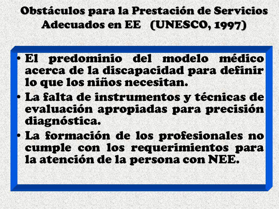 Obstáculos para la Prestación de Servicios Adecuados en EE (UNESCO, 1997)