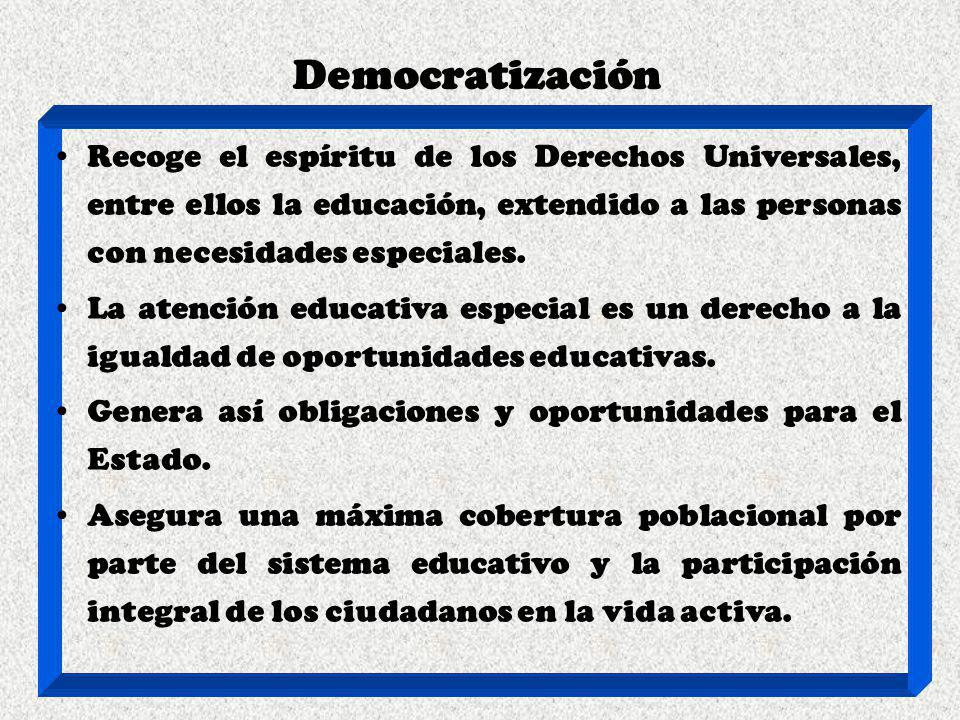 Democratización Recoge el espíritu de los Derechos Universales, entre ellos la educación, extendido a las personas con necesidades especiales.