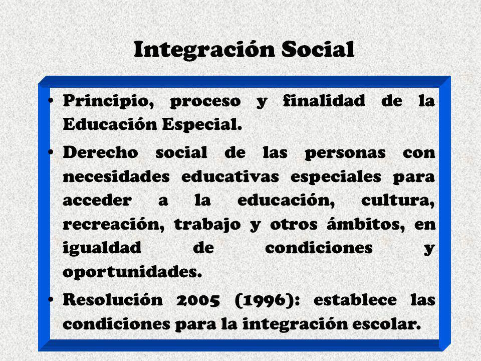Integración Social Principio, proceso y finalidad de la Educación Especial.