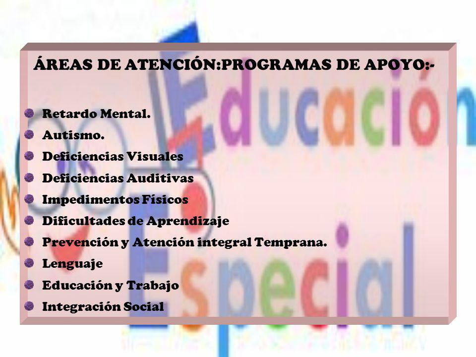 ÁREAS DE ATENCIÓN:PROGRAMAS DE APOYO:-