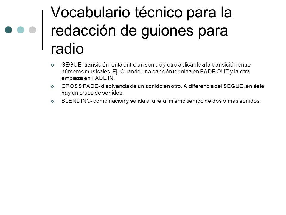 Vocabulario técnico para la redacción de guiones para radio