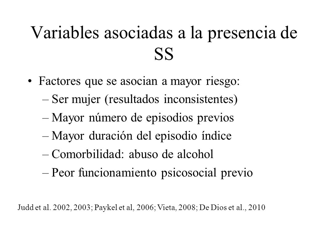 Variables asociadas a la presencia de SS