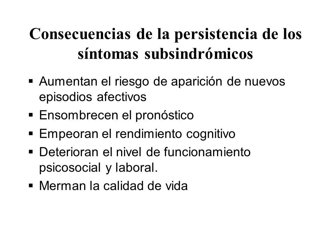 Consecuencias de la persistencia de los síntomas subsindrómicos
