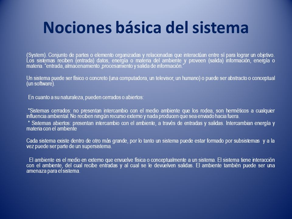 Nociones básica del sistema
