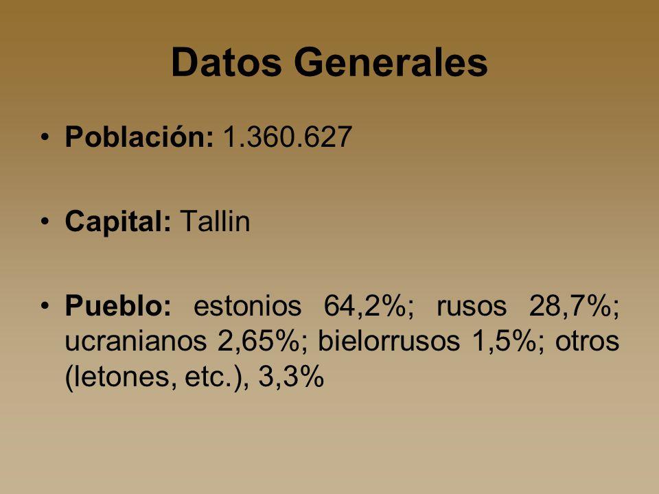 Datos Generales Población: 1.360.627 Capital: Tallin