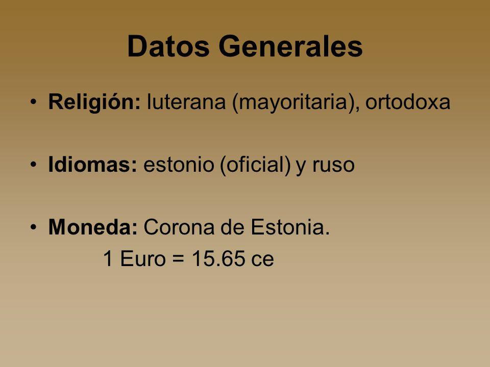 Datos Generales Religión: luterana (mayoritaria), ortodoxa