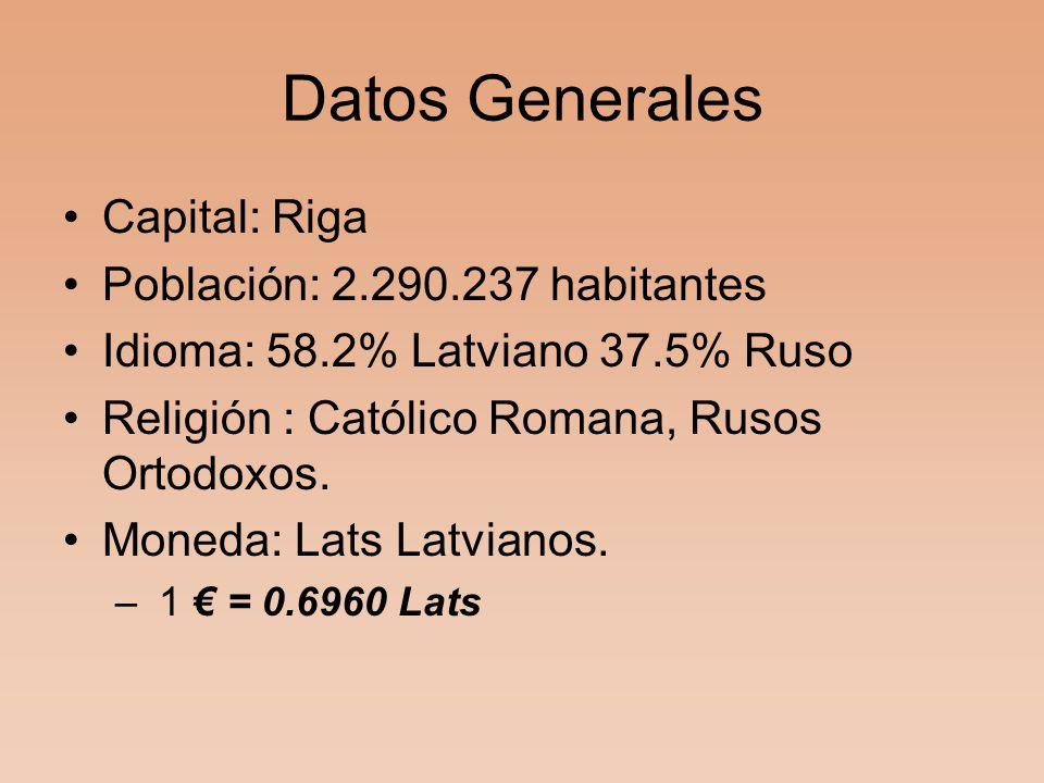 Datos Generales Capital: Riga Población: 2.290.237 habitantes