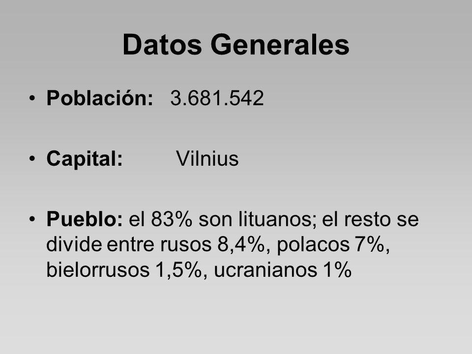 Datos Generales Población: 3.681.542 Capital: Vilnius