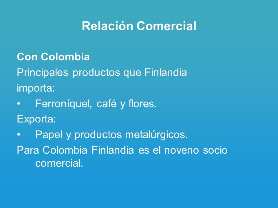 Relación Comercial Con Colombia Principales productos que Finlandia