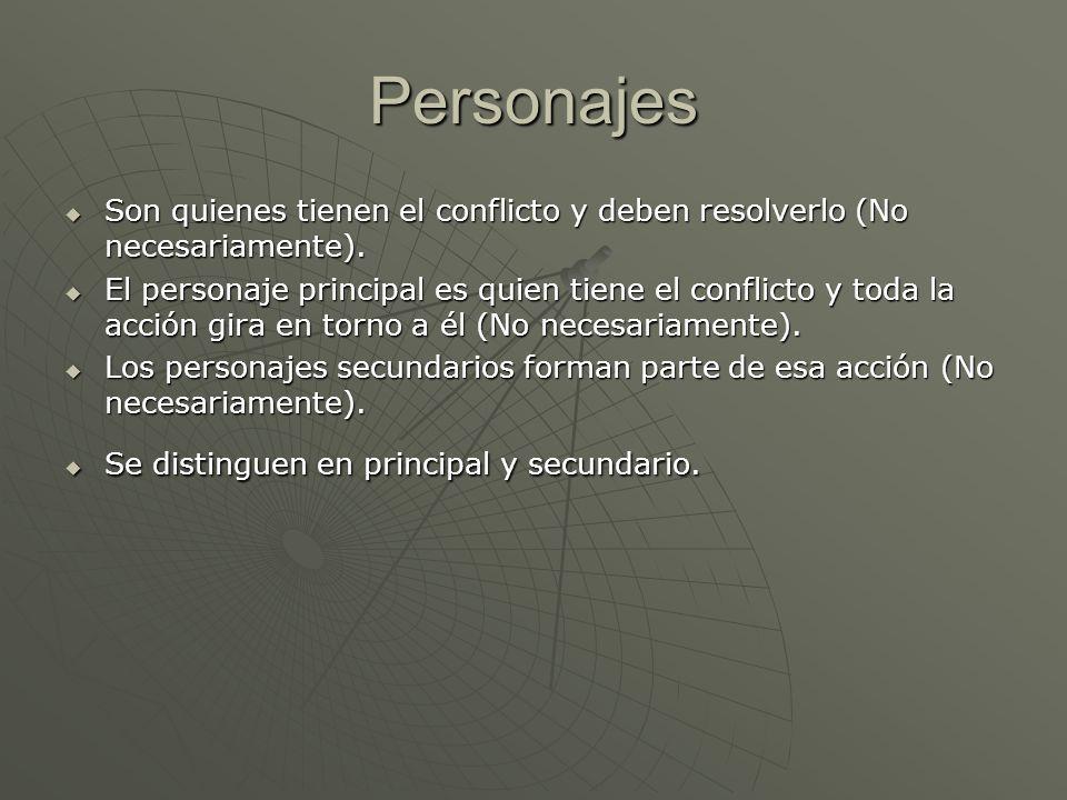 Personajes Son quienes tienen el conflicto y deben resolverlo (No necesariamente).