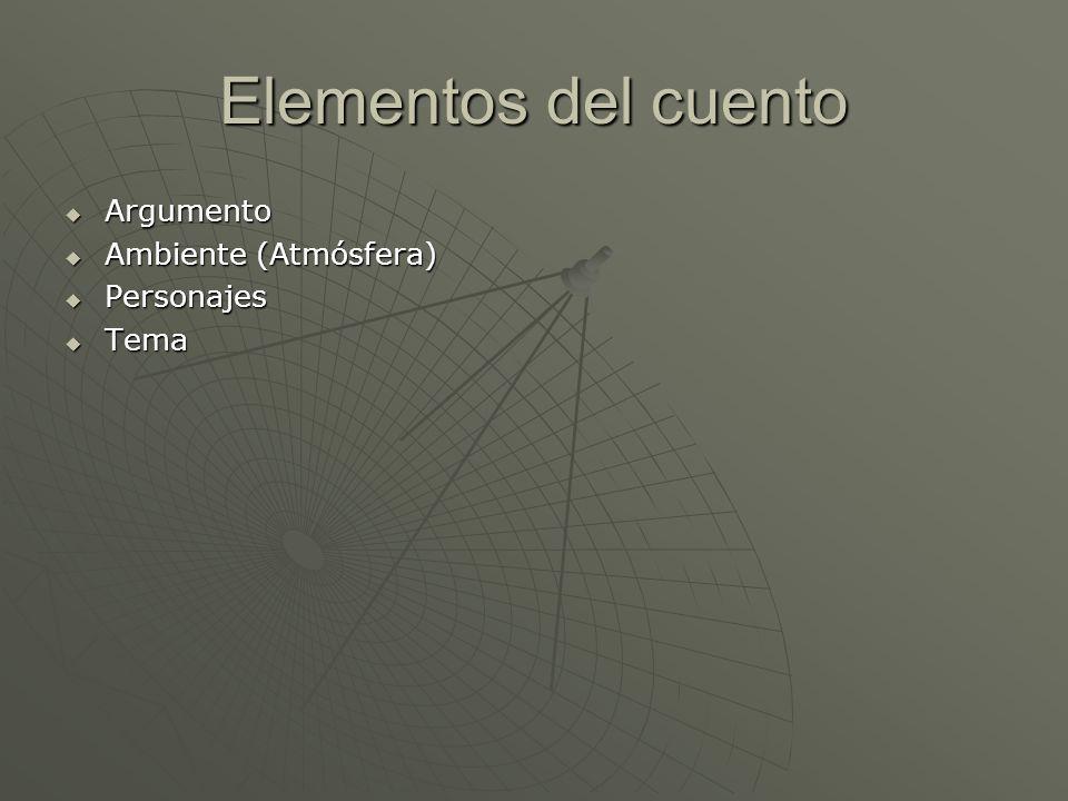 Elementos del cuento Argumento Ambiente (Atmósfera) Personajes Tema