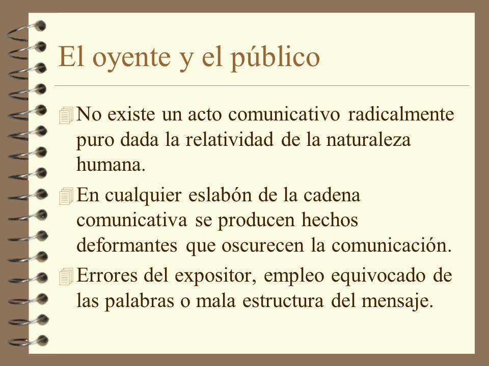 El oyente y el público No existe un acto comunicativo radicalmente puro dada la relatividad de la naturaleza humana.