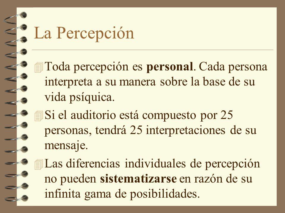 La Percepción Toda percepción es personal. Cada persona interpreta a su manera sobre la base de su vida psíquica.