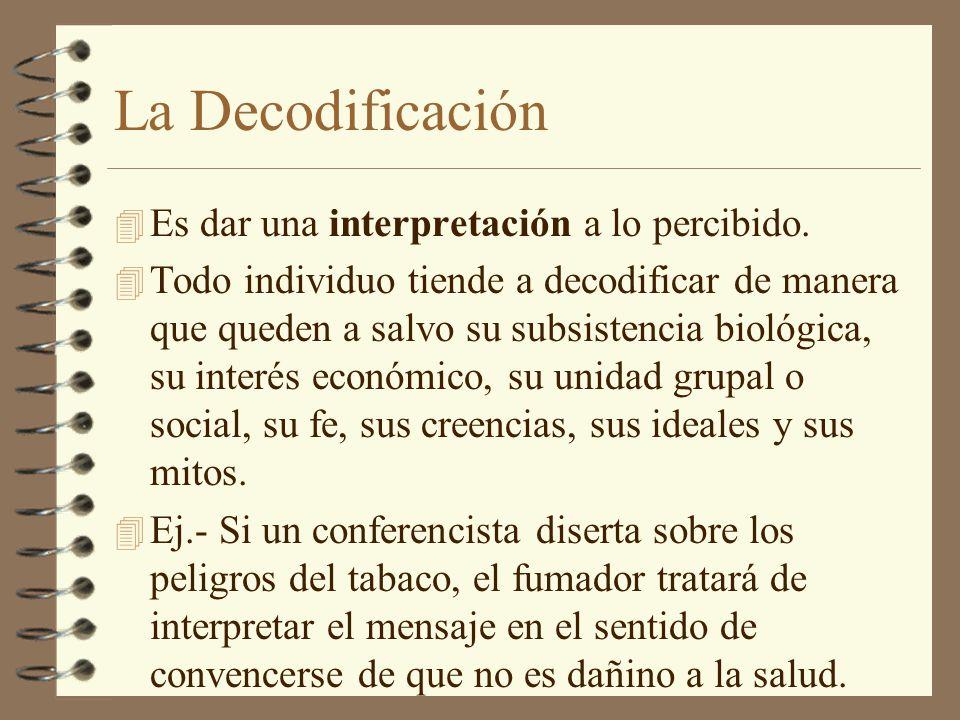 La Decodificación Es dar una interpretación a lo percibido.