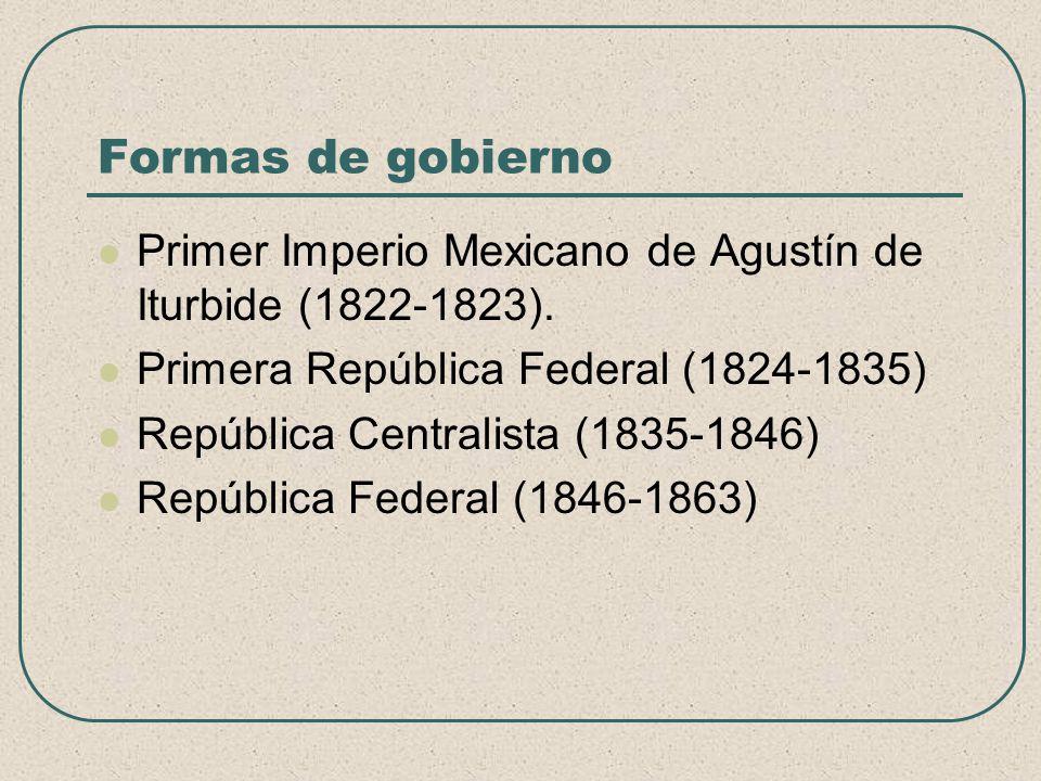 Formas de gobierno Primer Imperio Mexicano de Agustín de Iturbide (1822-1823). Primera República Federal (1824-1835)