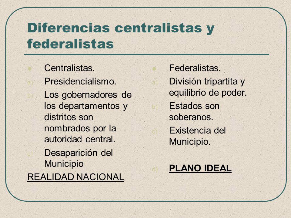 Diferencias centralistas y federalistas