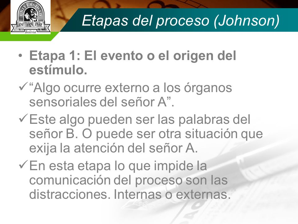 Etapas del proceso (Johnson)