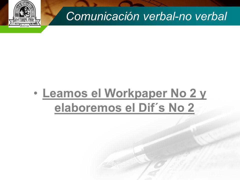 Comunicación verbal-no verbal