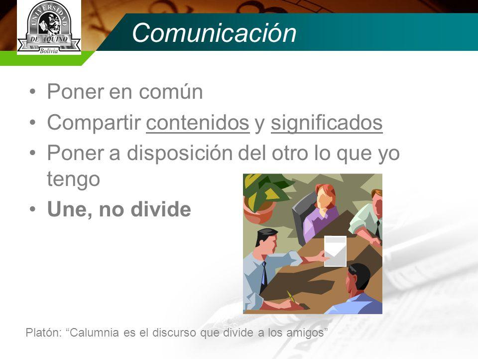 Comunicación Poner en común Compartir contenidos y significados
