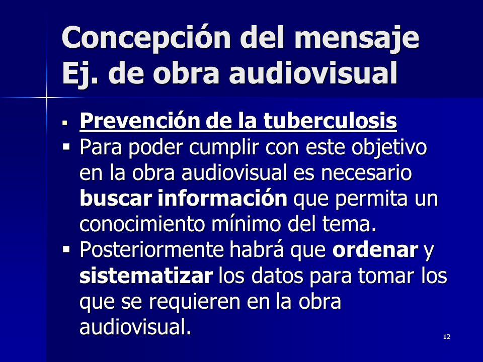 Concepción del mensaje Ej. de obra audiovisual