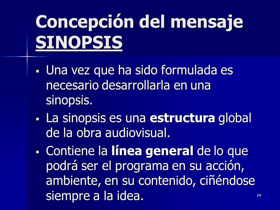 Concepción del mensaje SINOPSIS