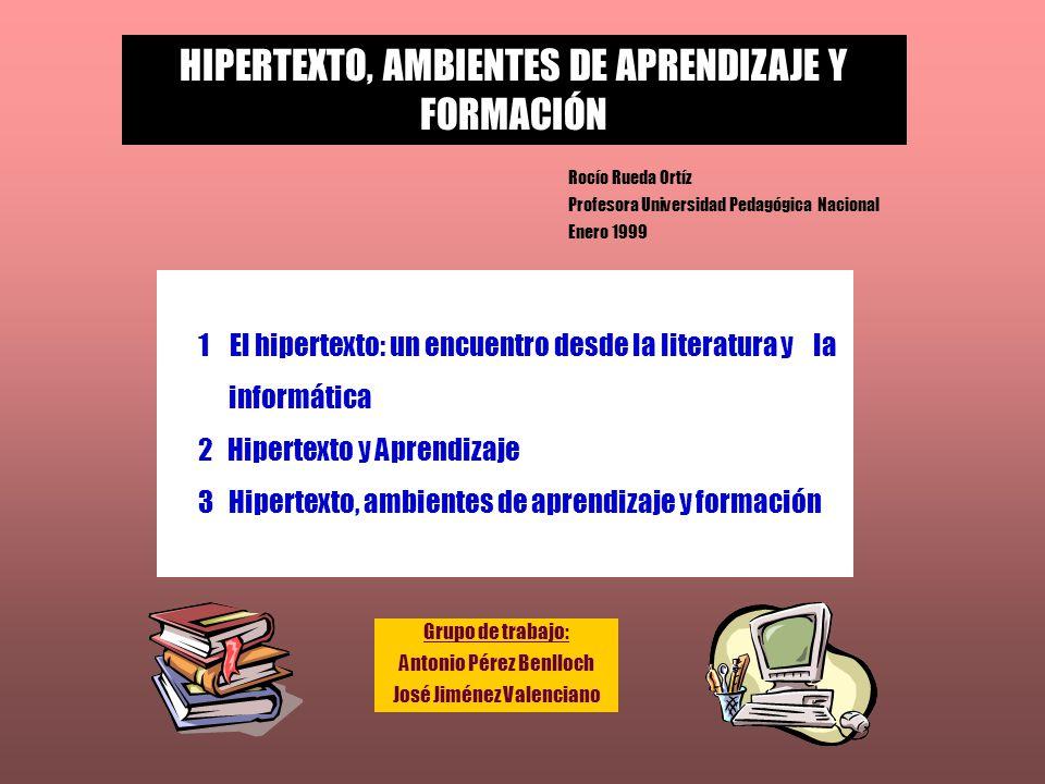 HIPERTEXTO, AMBIENTES DE APRENDIZAJE Y FORMACIÓN