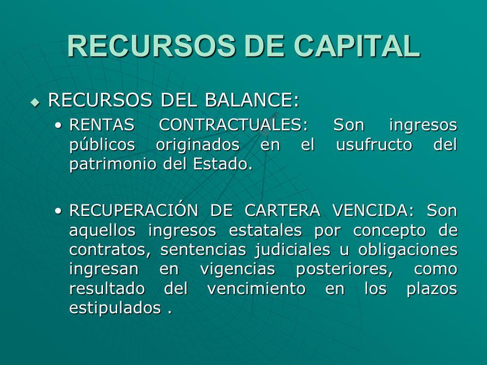 RECURSOS DE CAPITAL RECURSOS DEL BALANCE: