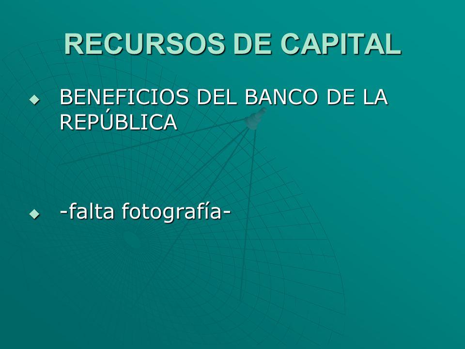 RECURSOS DE CAPITAL BENEFICIOS DEL BANCO DE LA REPÚBLICA