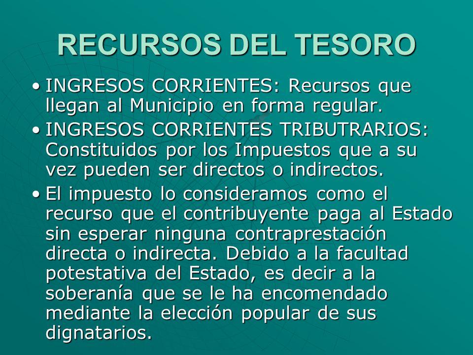 RECURSOS DEL TESORO INGRESOS CORRIENTES: Recursos que llegan al Municipio en forma regular.