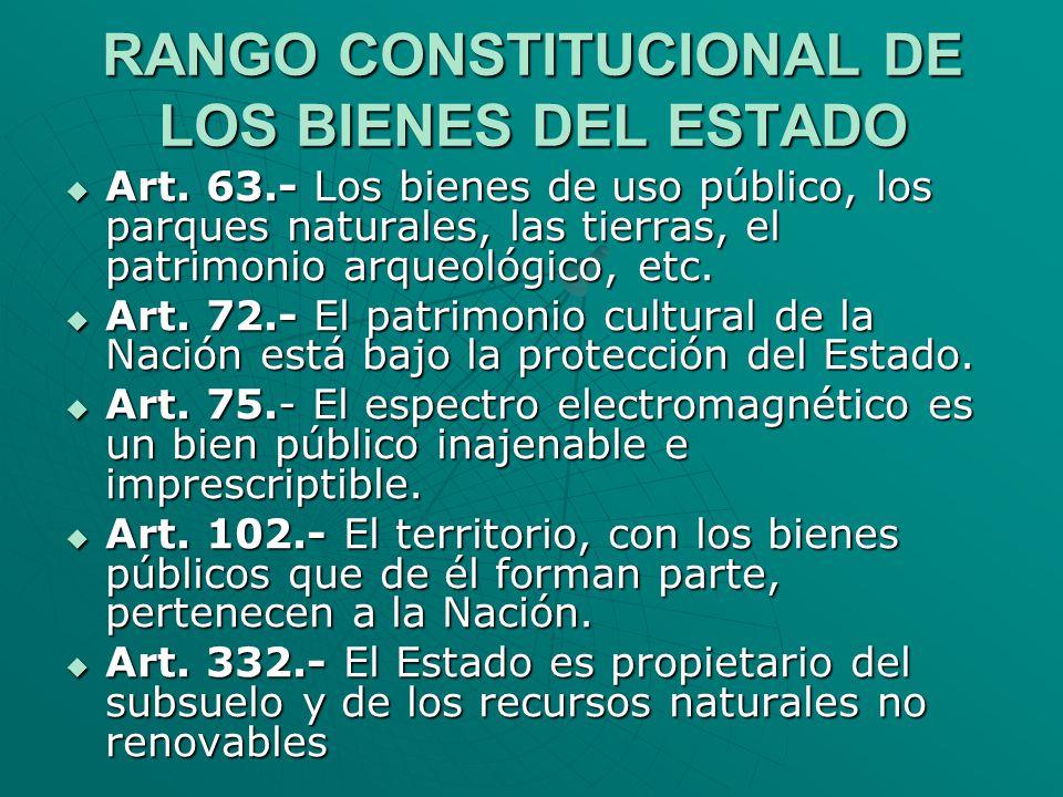 RANGO CONSTITUCIONAL DE LOS BIENES DEL ESTADO