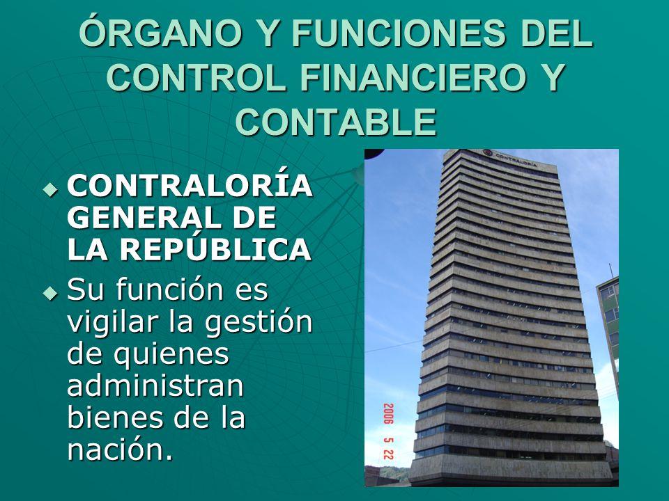 ÓRGANO Y FUNCIONES DEL CONTROL FINANCIERO Y CONTABLE