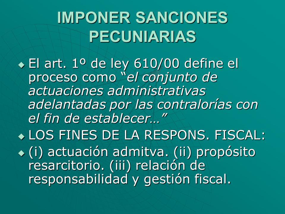 IMPONER SANCIONES PECUNIARIAS