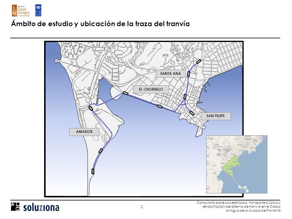 Localización de las estaciones y área de Influencia directa del tranvía