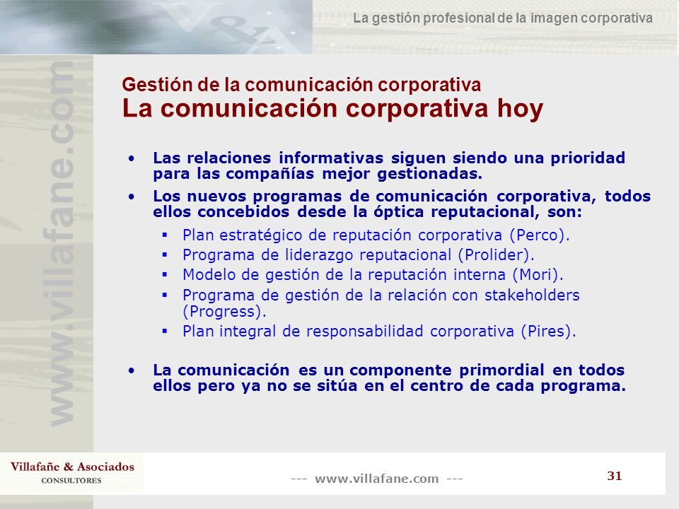 Gestión de la comunicación corporativa La comunicación corporativa hoy